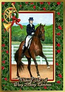 Dressage Drawings - Dressage Horse Blank Christmas Card by Olde Time  Mercantile