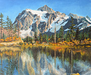 Snow Capped Originals - Fall Reflections - Cascade Mountains by Mary Ellen Anderson