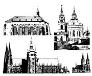 Prague Digital Art Prints - famous landmarks of Prague Print by Michal Boubin