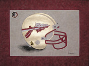 Sec Framed Prints - Florida Seminoles Helmet Framed Print by Herb Strobino