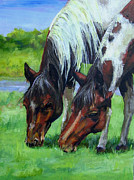 Horse Paintings - Friends by Diane Kraudelt