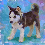 Husky Art Prints - Full Of It - Alaskan Husky Sled Dog Puppy Print by Karen Whitworth