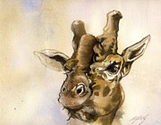 Alfred Ng - Giraffe Watercolor
