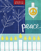 Peace Mixed Media Posters - Hanukkah Peace Poster by Linda Woods