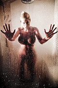 Nude Woman Water Posters - Hot Shower Poster by Jt PhotoDesign