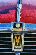 Vintage Hood Ornament Painting Framed Prints - Jaguar V12 badge Framed Print by George Atsametakis