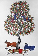 Gond Tribal Art Paintings - Js 108 by Japani Shyam