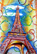 Circles Drawings Framed Prints - La Tour Eiffel Framed Print by Daniel Janda