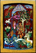 Green Tapestries - Textiles Posters - Lady Lion and Unicorn Poster by Genevieve Esson