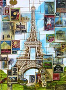 Eiffel Tower Mixed Media Metal Prints - Memories of Paris Metal Print by Joseph Sonday