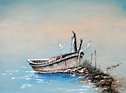 Docked Boat Painting Prints - Mystical Morning Print by Ruth Bodycott