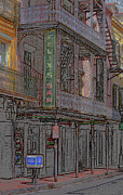 American City Mixed Media Prints - New Orleans - Bourbon Street with Pencil Effect Print by Frank Romeo