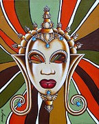 African Art Paintings - Nubian Modern Mask by Joseph Sonday