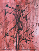 Lino Print Drawings - Pole with Transformer by William Cauthern