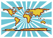 World Map Print Digital Art - Pop Art Comic Book World Map by Stephen Gowland