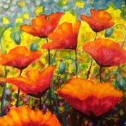 Landscape Greeting Cards Painting Prints - Poppy Corner Print by John  Nolan