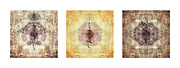 Tibetan Buddhism Posters - Prayer Flag Triptych Poster by Carol Leigh