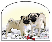 Snow Dog Mixed Media Posters - Ricky and Curly Poster by Joseph Juvenal