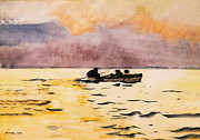 Sea With Waves Prints - Rowing Home Print by Winslow Homer