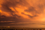 Storm Clouds; Sunset; Twilight; Water Metal Prints - Storm Clouds Over Key Biscayne Metal Print by Jonathan Gewirtz