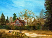 Rustic Cabin Prints - Strawberry Lodge Print by Dale Jackson