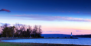 Yellow Bridge Digital Art Posters - Sunset In Cayuga Lake Ithaca New York Panoramic Photography Poster by Paul Ge