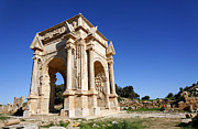 Leptis Magna Framed Prints - The Septimus Severus Arch at Leptis Magna in Libya Framed Print by Robert Preston