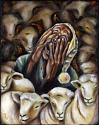Nightmare Man Paintings - Too many sheep to sleep by Hiroko Sakai