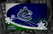 Hockey Posters - Vancouver Canucks Christmas Poster by Joe Hamilton