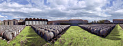David  Zanzinger - Winery wine barrels outside clouds...