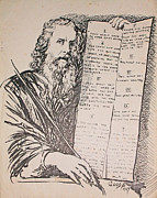 Moses Drawings - 10 Commandments by Henry Goode