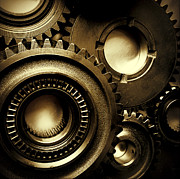 Industrial Concept Photo Posters - Cogs Poster by Les Cunliffe