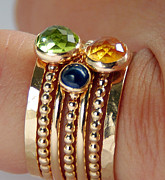 Ring Jewelry - 14k GOLD FILLED Peridot Citrine Sapphire Stackable Birthstones Mothers rings mommy Rings by Nadina Giurgiu
