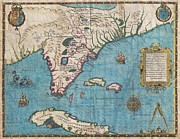 Peace Made By War Framed Prints - 1591 De Bry and Le Moyne Map of Florida and Cuba Framed Print by Paul Fearn