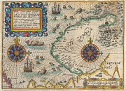 Ill-fated Framed Prints - 1601 De Bry and de Veer Map of Nova Zembla and the Northeast Passage Framed Print by Paul Fearn