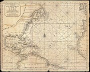 Neptune Islands Framed Prints - 1683 Mortier Map of North America the West Indies and the Atlantic Ocean  Framed Print by Paul Fearn