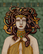 Medusa Posters - 16x20 Old Hollywood Medusa Green Poster by Dia T
