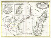 Incorporated Prints - 1770 Bonne Map of East Africa Madagascar Isle Bourbon and Mauritius Print by Paul Fearn