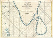 Nautical Chart Prints - 1775 Mannevillette Map of Southern India and Ceylon or Sri Lanka  Print by Paul Fearn
