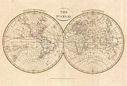 Between The Two Posters - 1799 Cruttwell Map of the World in Hemispheres Poster by Paul Fearn