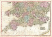 Undersea.  Prints - 1818 Pinkerton Map of Southern England Print by Paul Fearn