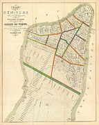 Book Title Art - 1831 Hooker Map of New York City by Paul Fearn