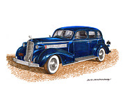 Series Drawings Framed Prints - 1936 Cadillac Model 70 Fleetwood Sedan Framed Print by Jack Pumphrey