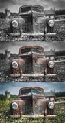 Headlight Metal Prints - 1940 DeSoto Deluxe Triptych Metal Print by Scott Norris