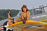 Full Skirt Photos - 1940s Style Pin-up Girl Lying On A T-6 by Christian Kieffer