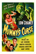 Featured Mixed Media Prints - 1944 The Mummys Curse Vintage Movie Art Print by Presented By American Classic Art