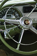 Collector Cars Metal Prints - 1953 Pontiac Steering Wheel Metal Print by Jill Reger