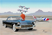 Automotive Digital Art - 1957 THUNDERBIRD  with F-84 Thunderbirds vintage Ford classic car art sketch rendering          by John Samsen