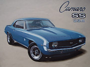 Coupe Drawings Acrylic Prints - 1969 Camaro SS Acrylic Print by Paul Kuras