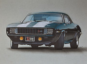 Transportation Drawings Prints - 1969 Camaro Z28 Print by Paul Kuras